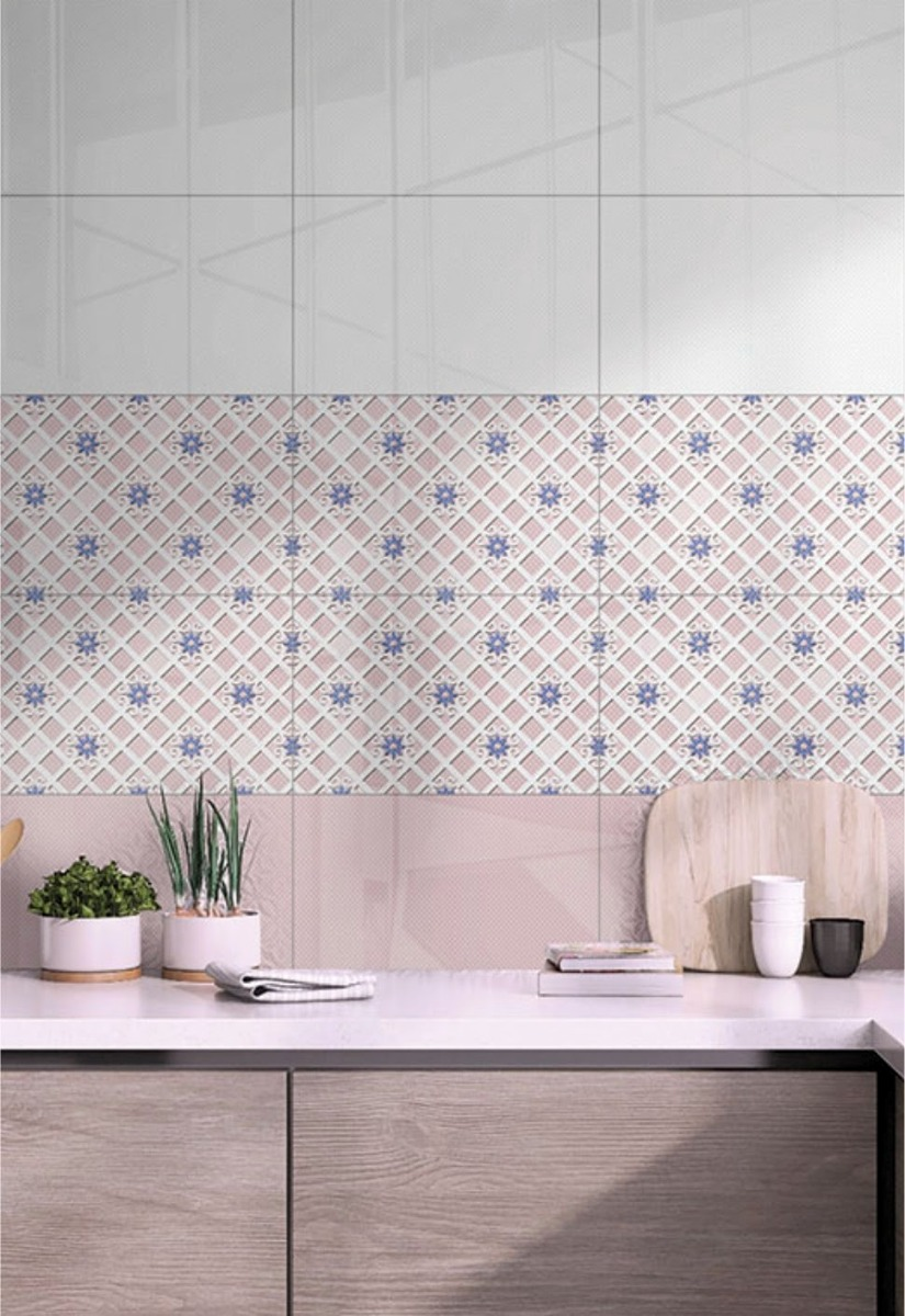 GFT SPB Floral Grid Pink Kitchen Ambiance Ceramic Sparkle Wall Tiles