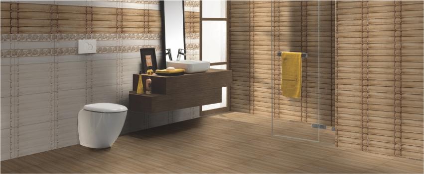 Wooden bathroom wall and floor tiles